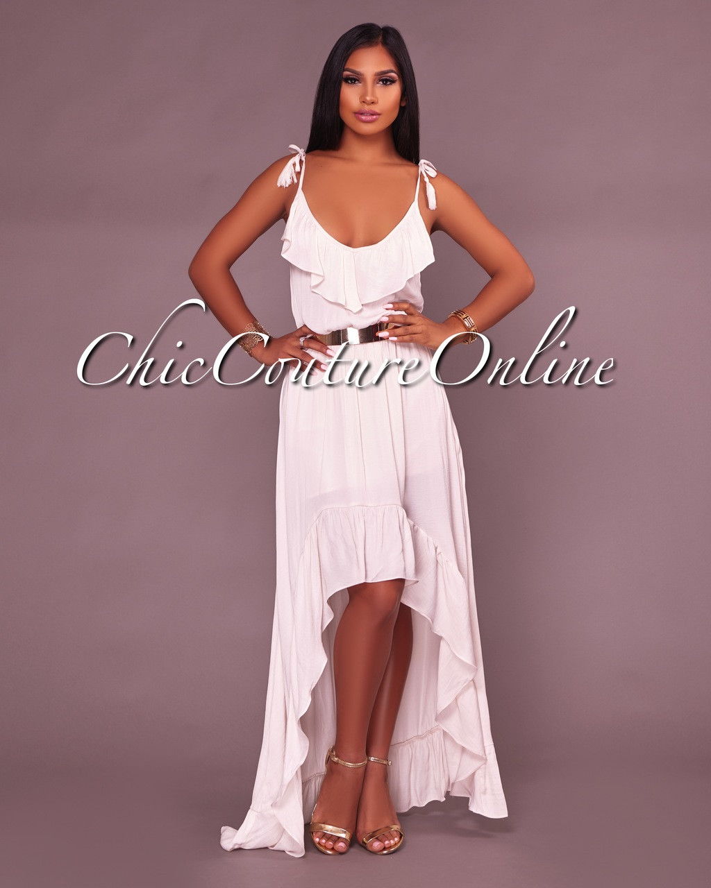Rhetta Off White Hi Low Dress