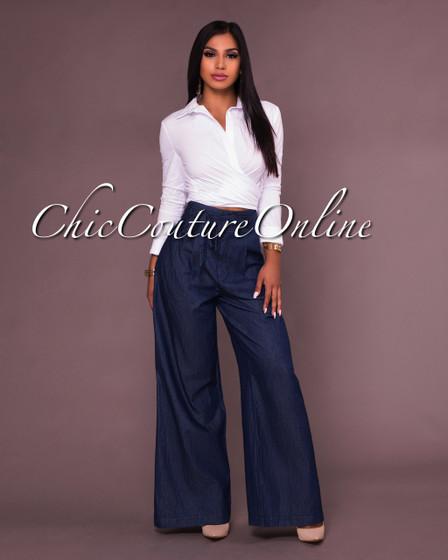 Fabiola Blue Indigo Wide Leg Pants