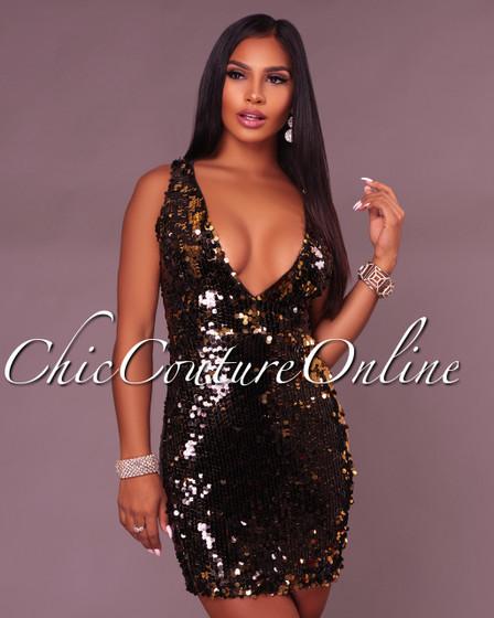 Tatum Black Gold Sequins Deep V Dress