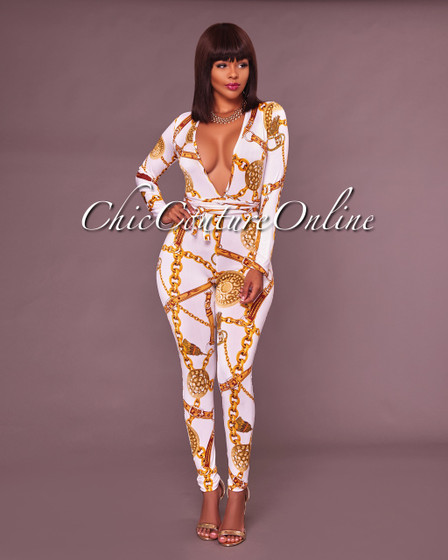 Markay White Gold Chain Print Plunging V-Neck Jumpsuit