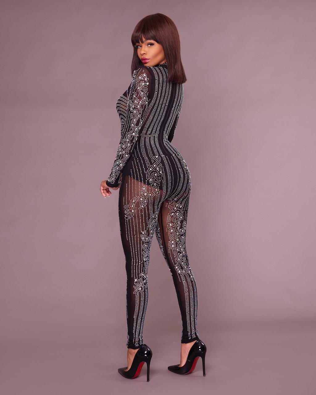 55afc1532ef Yessy Black Rhinestones Semi-Sheer Jumpsuit. Price   100.00. Image 1.  Larger   More Photos