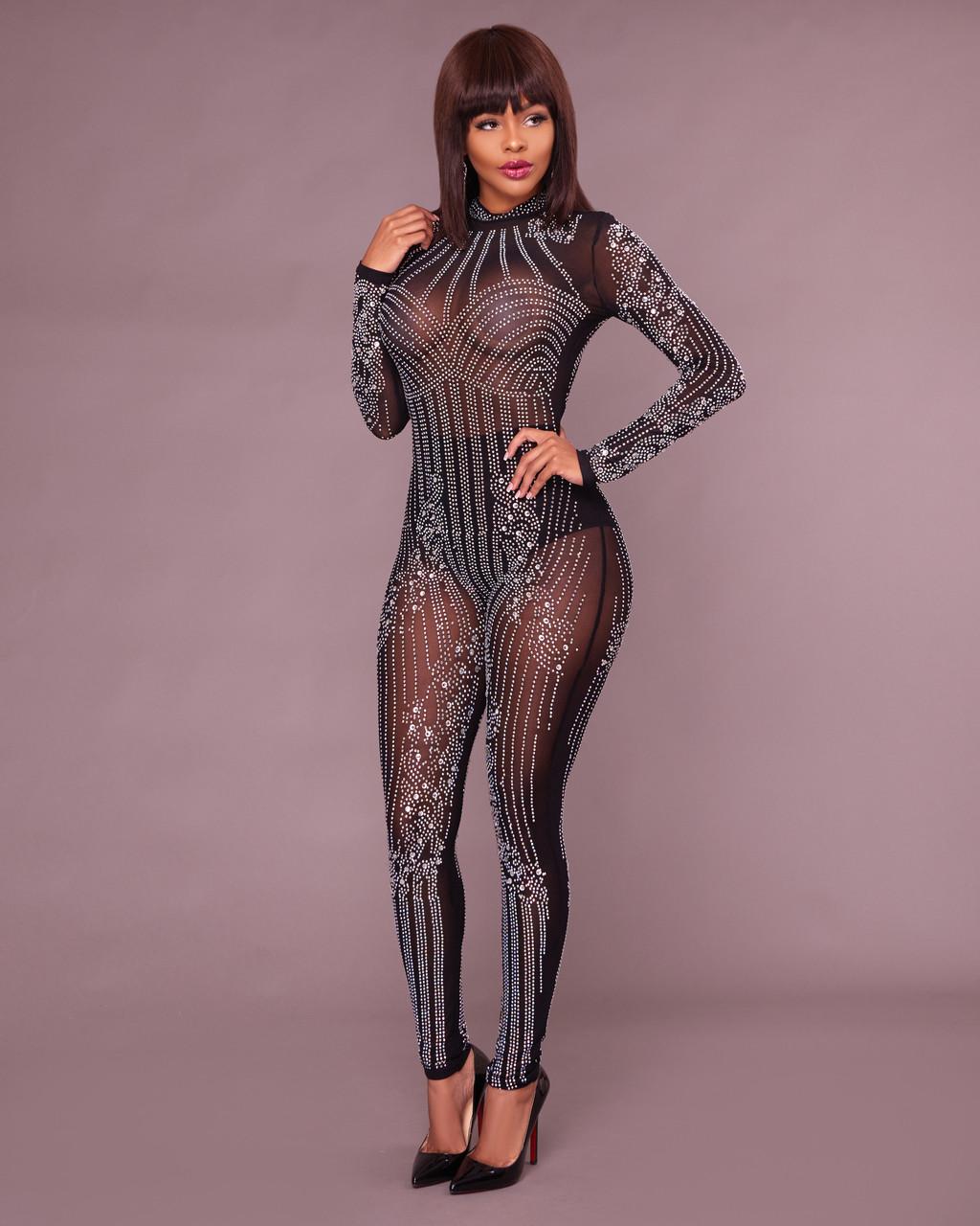 b739ca7dc1 Yessy Black Rhinestones Semi-Sheer Jumpsuit. Price   100.00. Image 1.  Larger   More Photos