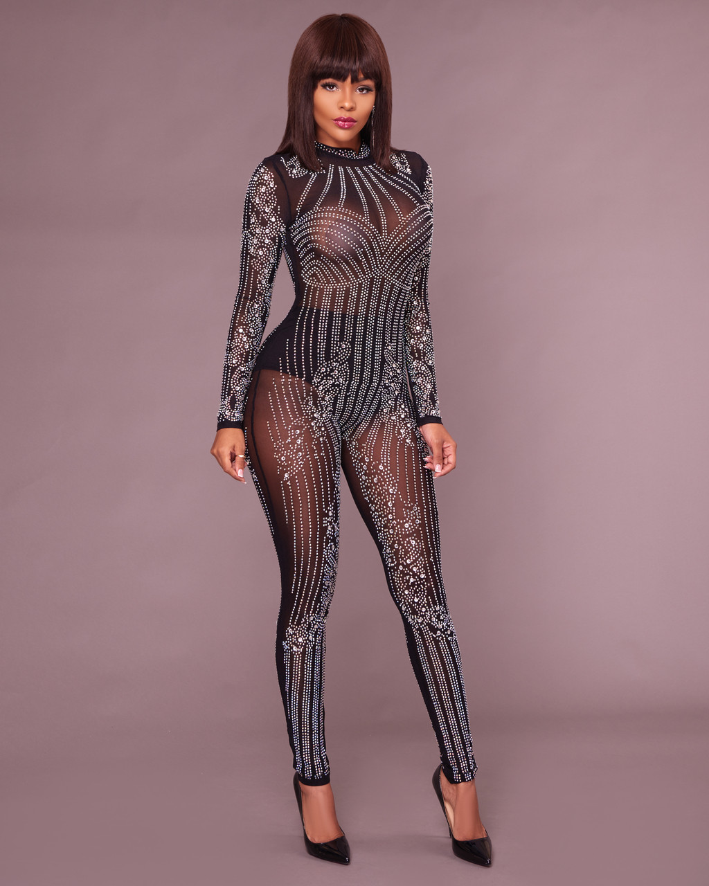ac8e6cf5433 Yessy Black Rhinestones Semi-Sheer Jumpsuit. Price   100.00. Image 1
