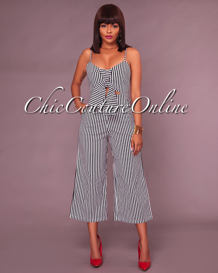 Shanna Black White Stripes Front Tie Jumpsuit
