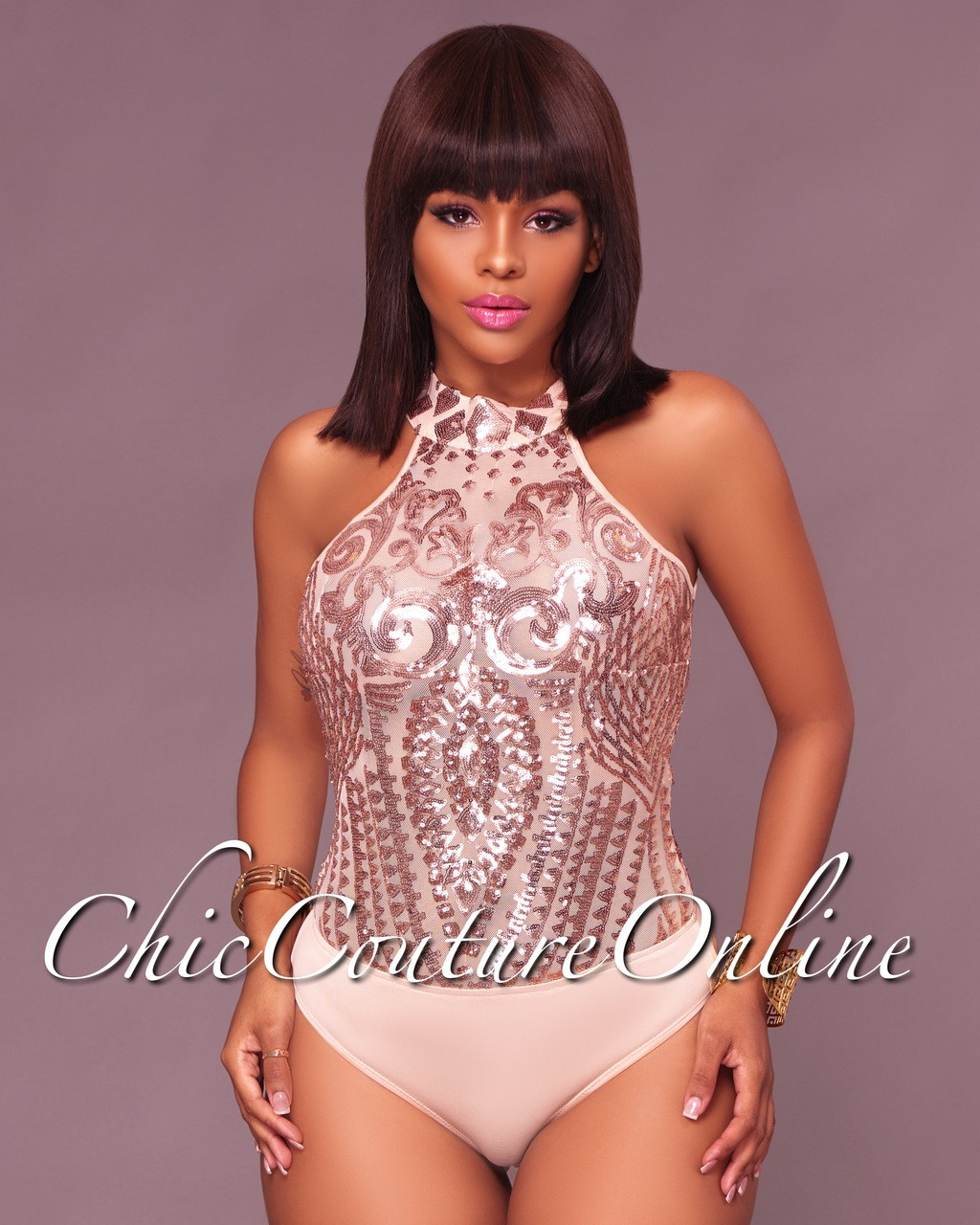 a67c38dcba Tadita Rose Gold Mesh Sequin Bodysuit. Price   40.00. Image 1