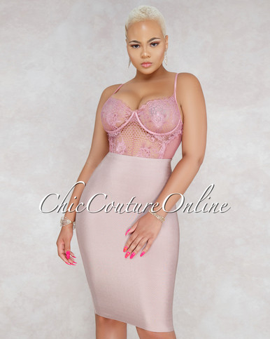 Lizeth Nude Elastic Body-Con Skirt