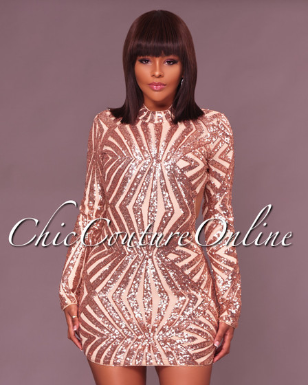 Tammy Rose Gold Nude Sequins Open Back Mini Dress