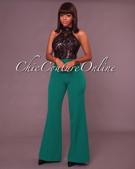 Rahel Emerald Green  High Waist Wide Leg Pants