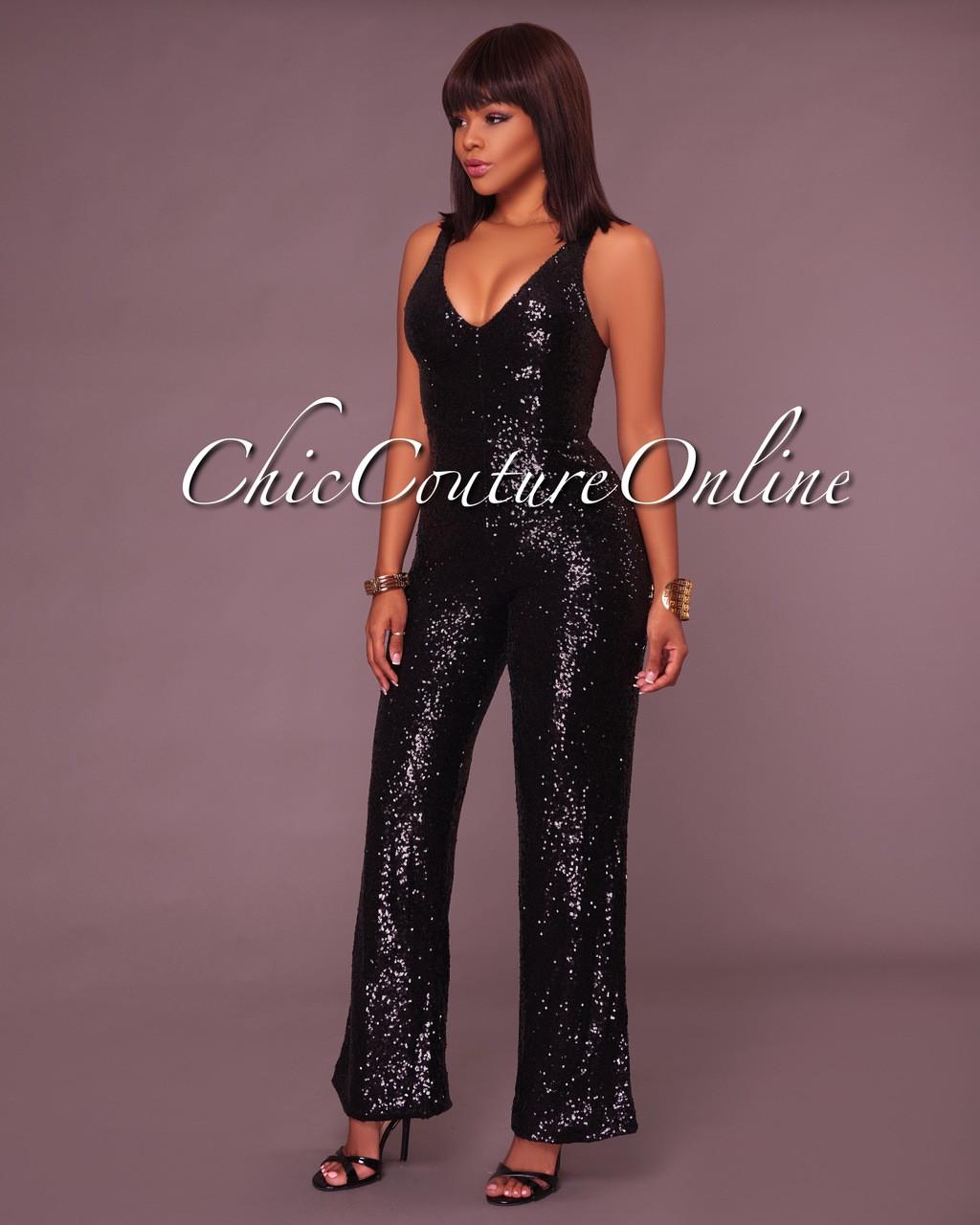 2557345de3e Cadence Black Sequins Jumpsuit