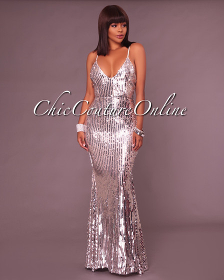 Jessalyn Silver Sequin Maxi Dress