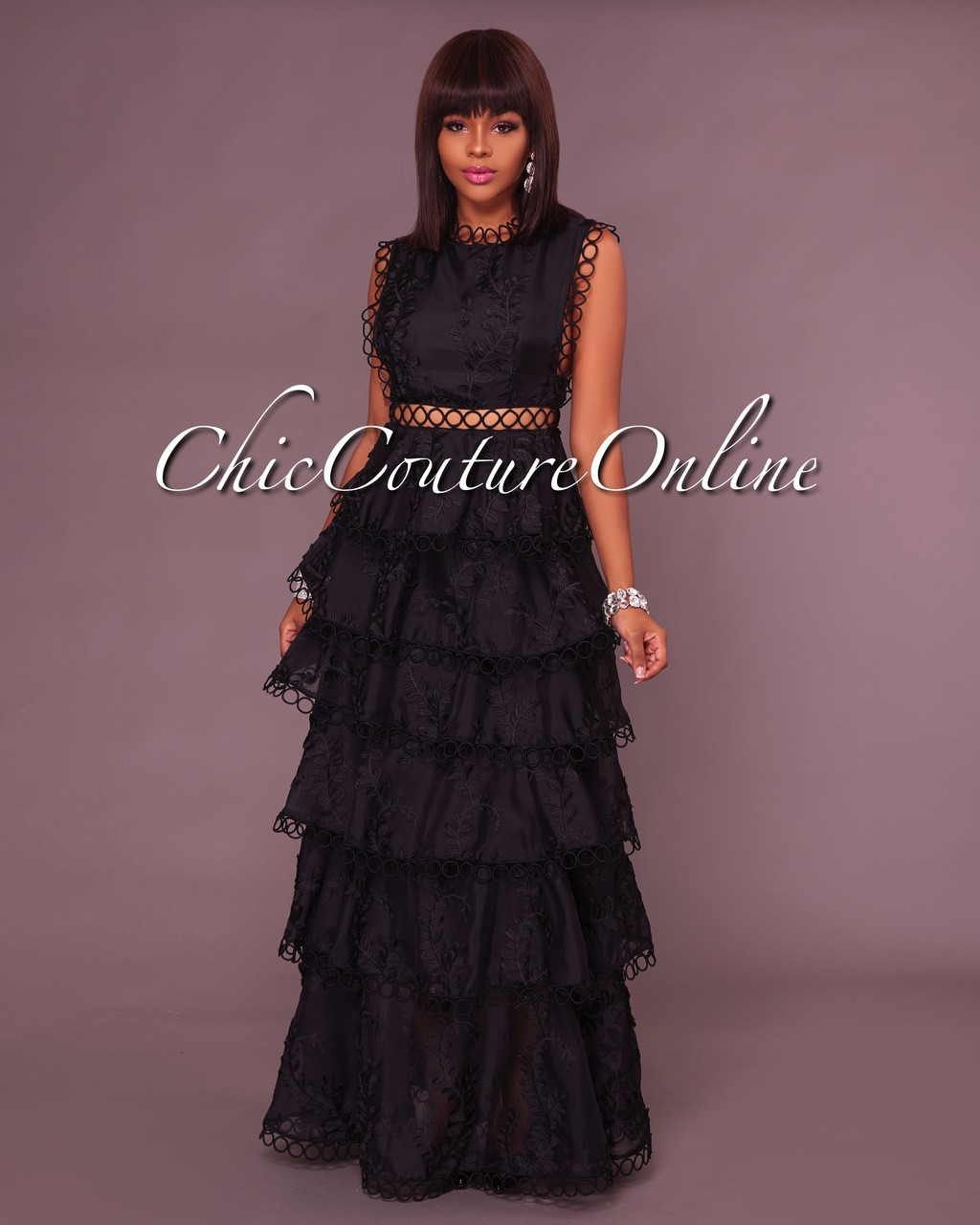 e460e49ae9 Jezebel Black Tier Maxi Dress