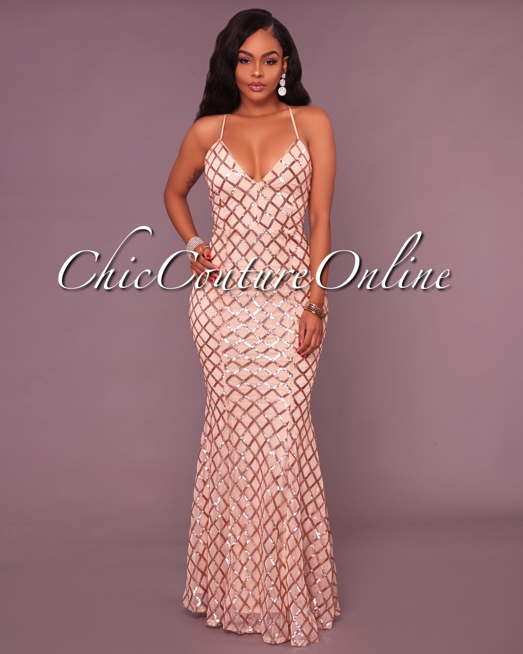 605b797817e Bariano Nude Rose Gold Sequins CrissCross Maxi Dress. Your Price   60.00  (You save  40.00). Image 1