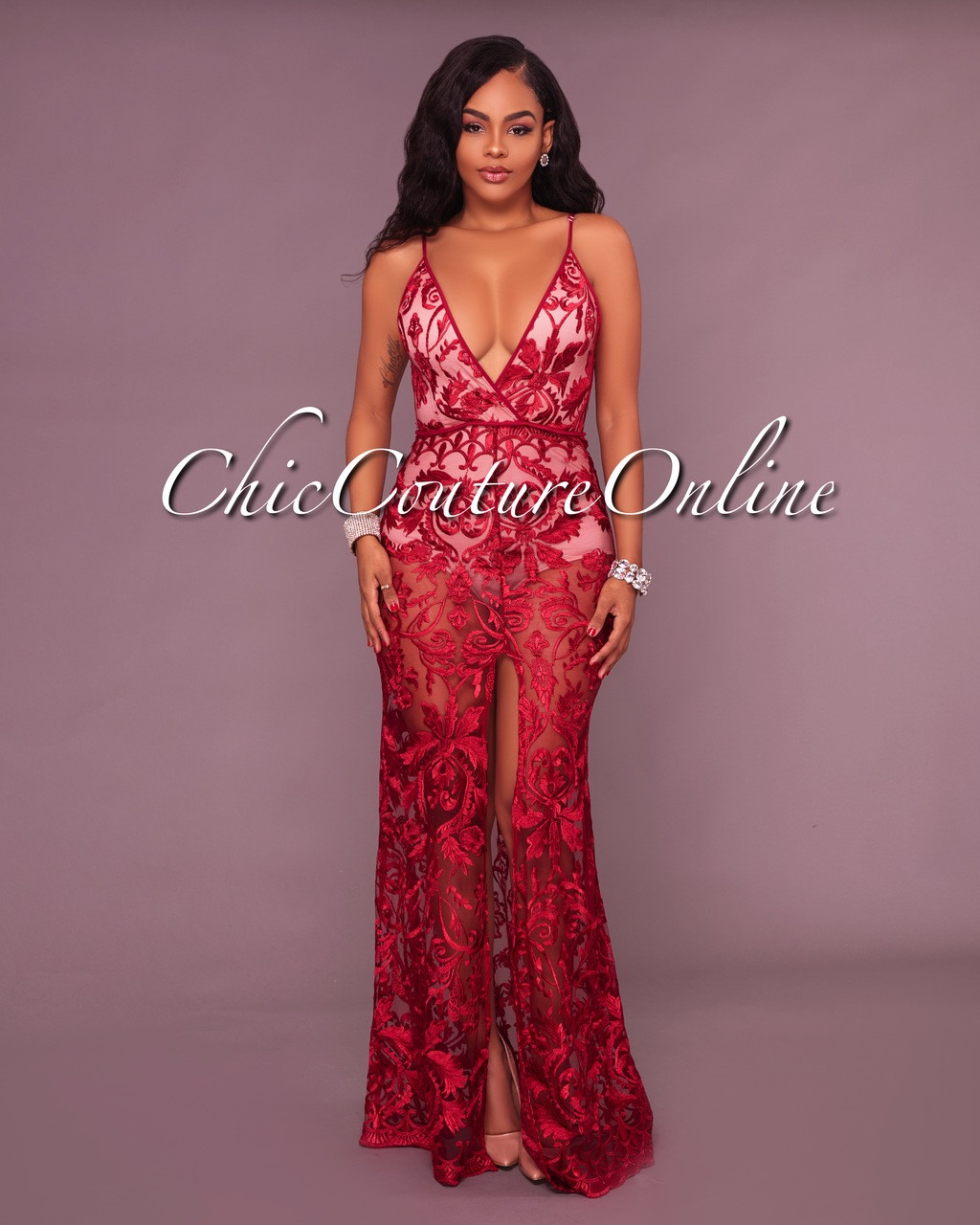 Tarvyn Wine Red Lace Nude Illusion Bodysuit Maxi Dress-1685