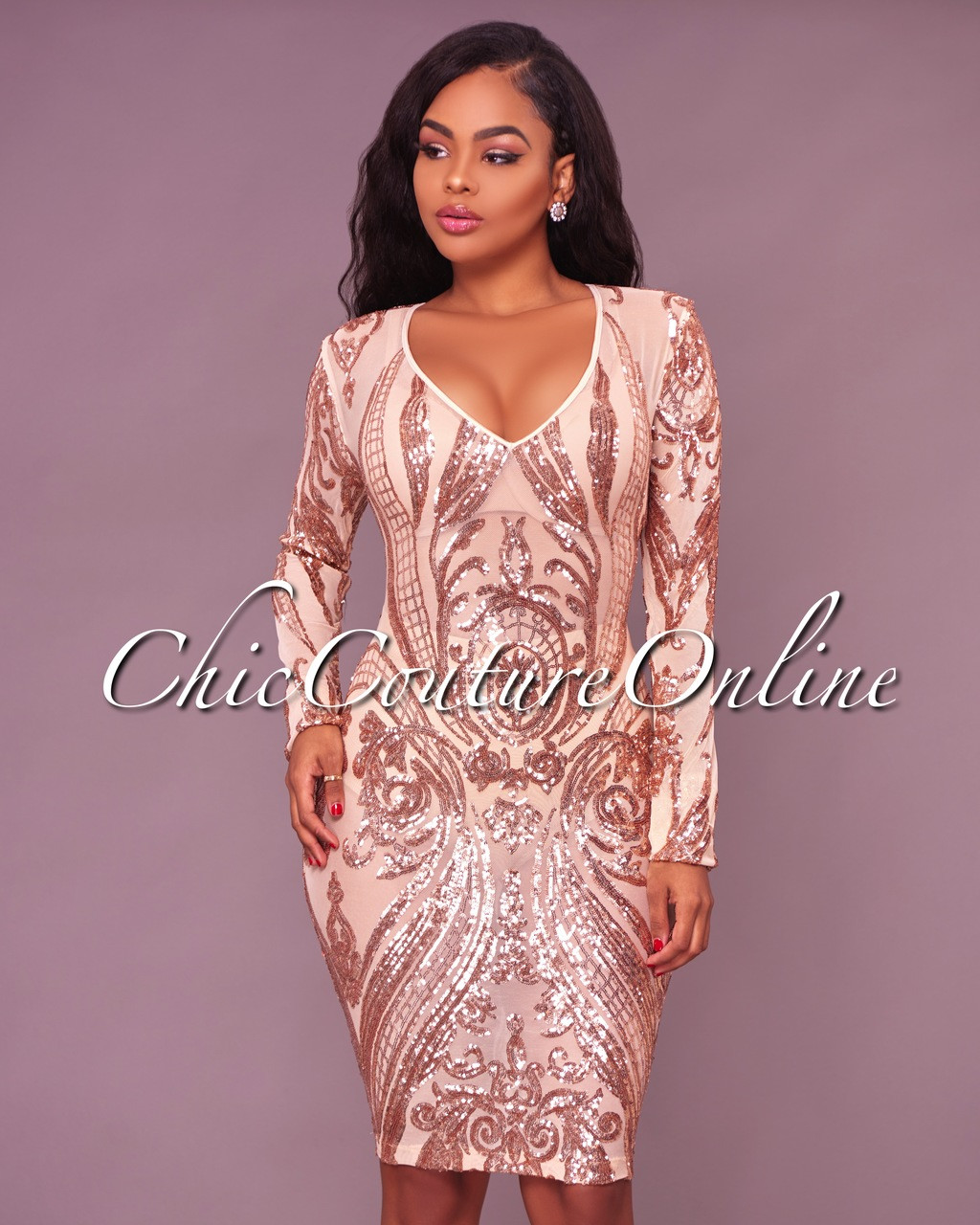 c70aadb4 Olga Nude Illusion Rose Gold Sequins Dress