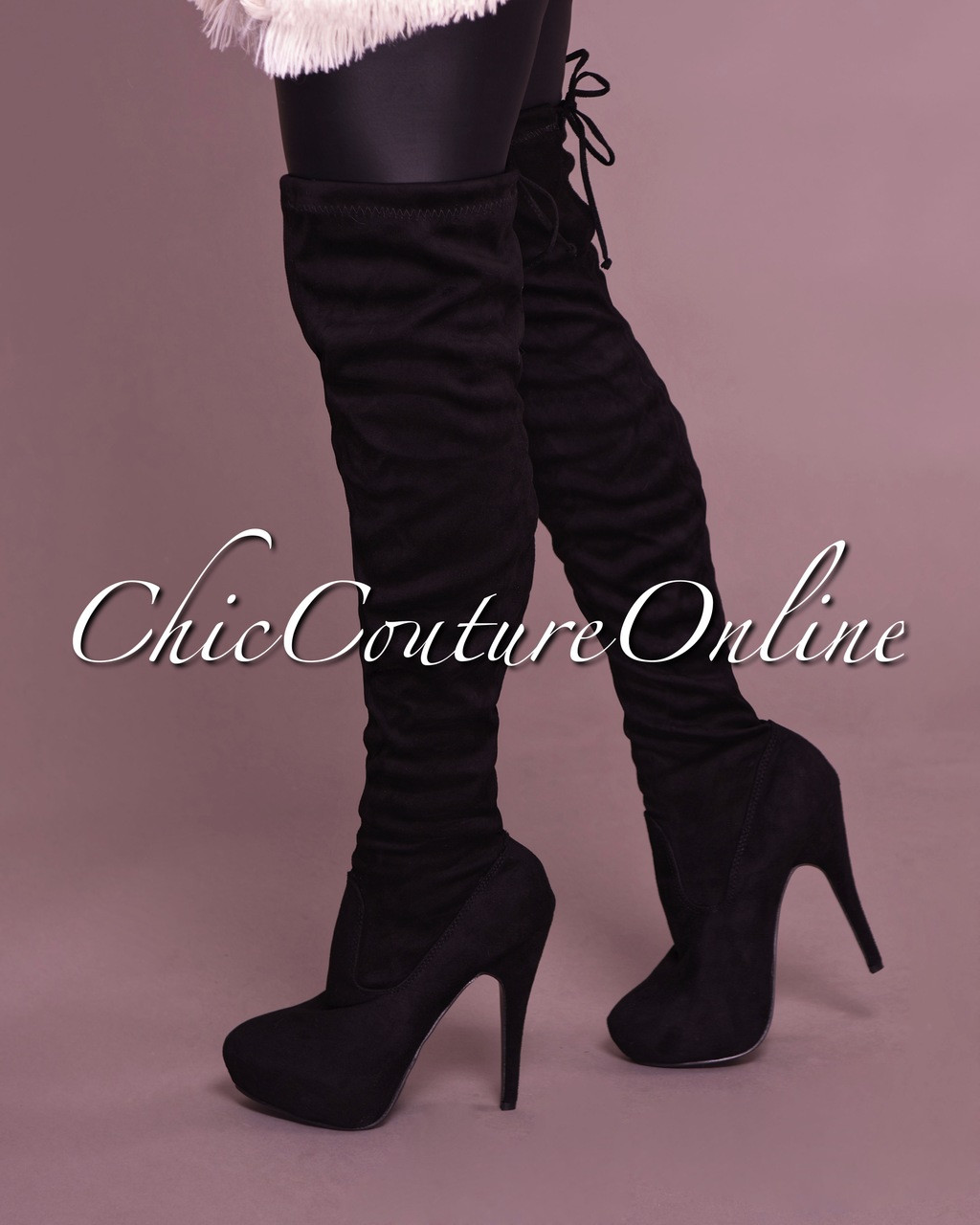 e54a8540636 Compose Black Faux Suede Over-The-Knee Boots