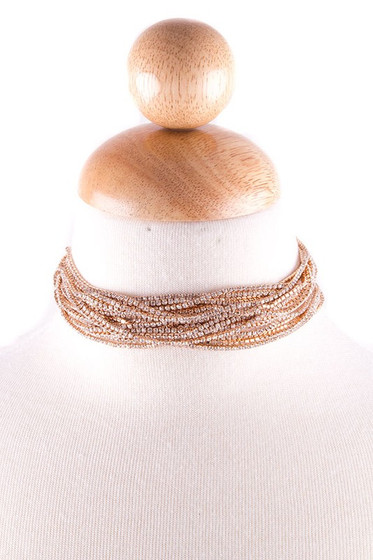 Jesse Golden Multi Strand Crystal Choker Necklace