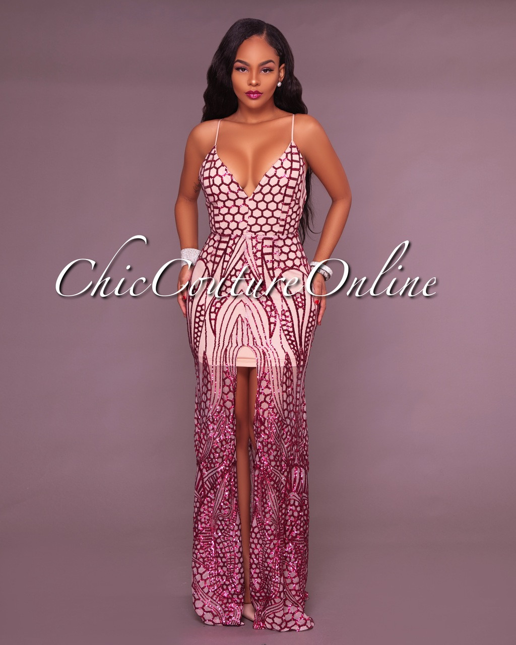 Duby Nude Pink Sequins Gown