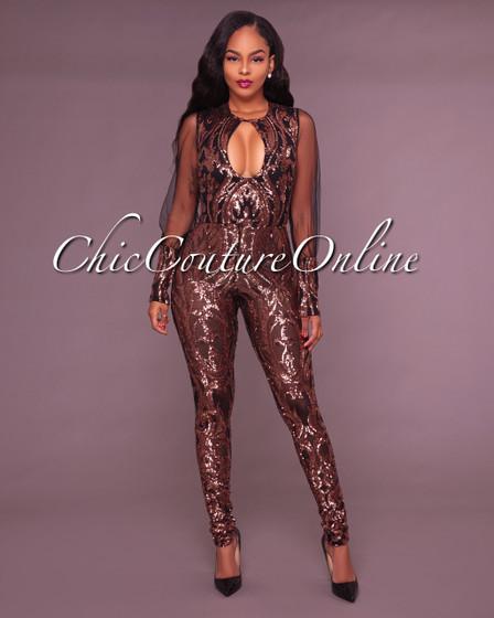 Mariana Black Sequin Embellished Jumpsuit