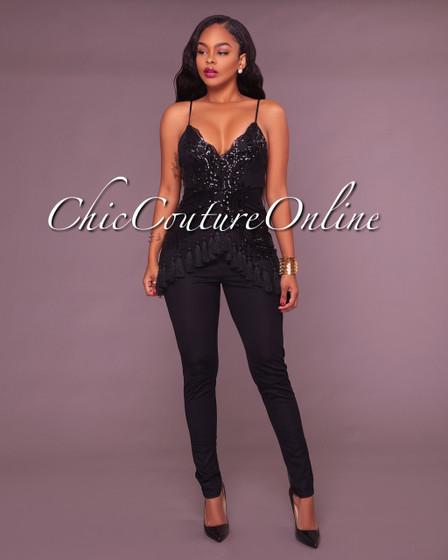 Selah Black Sequin Embellished Tassel Jumpsuit