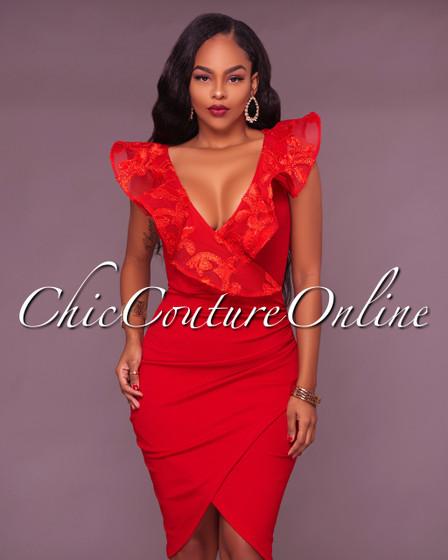 Rachelle Red Ruffle Midi Dress