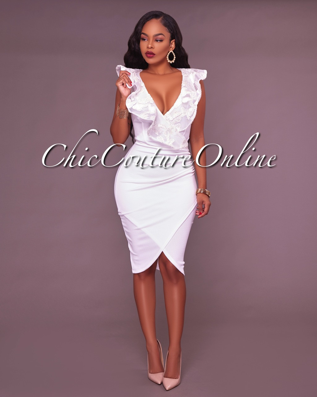 dcce8270625 Rachelle Off White Ruffle Midi Dress