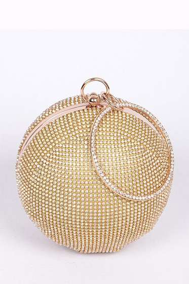 Disco Golden Ball Round Rhinestone Pavé Clutch Bag