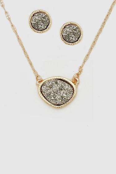 Druzy Silver Hematite Stone Earrings & Necklace Set