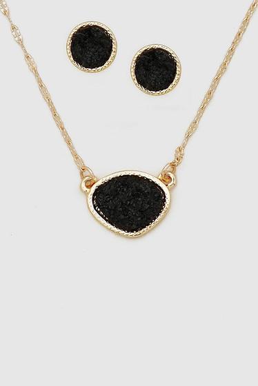 Druzy Black Stone Earrings & Necklace Set