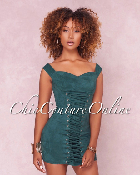 Liliana Hunter Green Lace Up Faux Suede Mini Dress