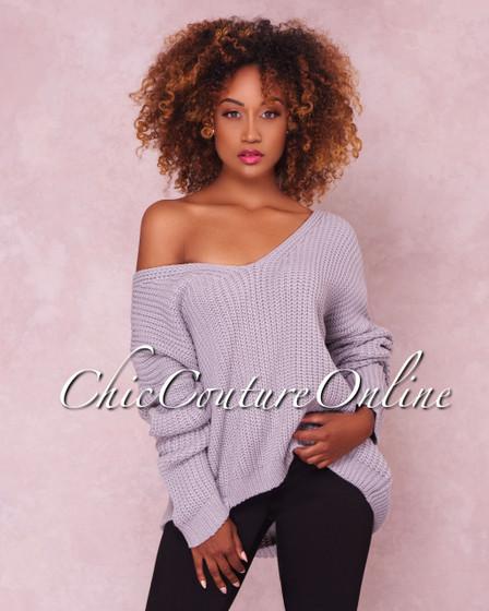 Ariel Grey Lace Up Knit Sweater
