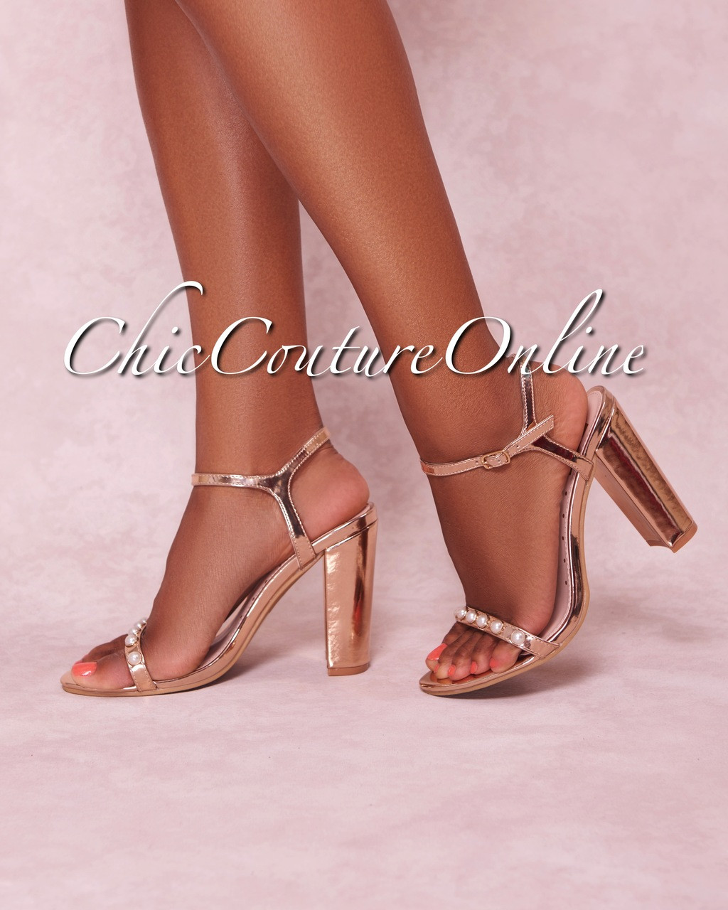 79582ac42a ... Gold Pearl Strap High Heel Sandals. Image 1. Loading zoom