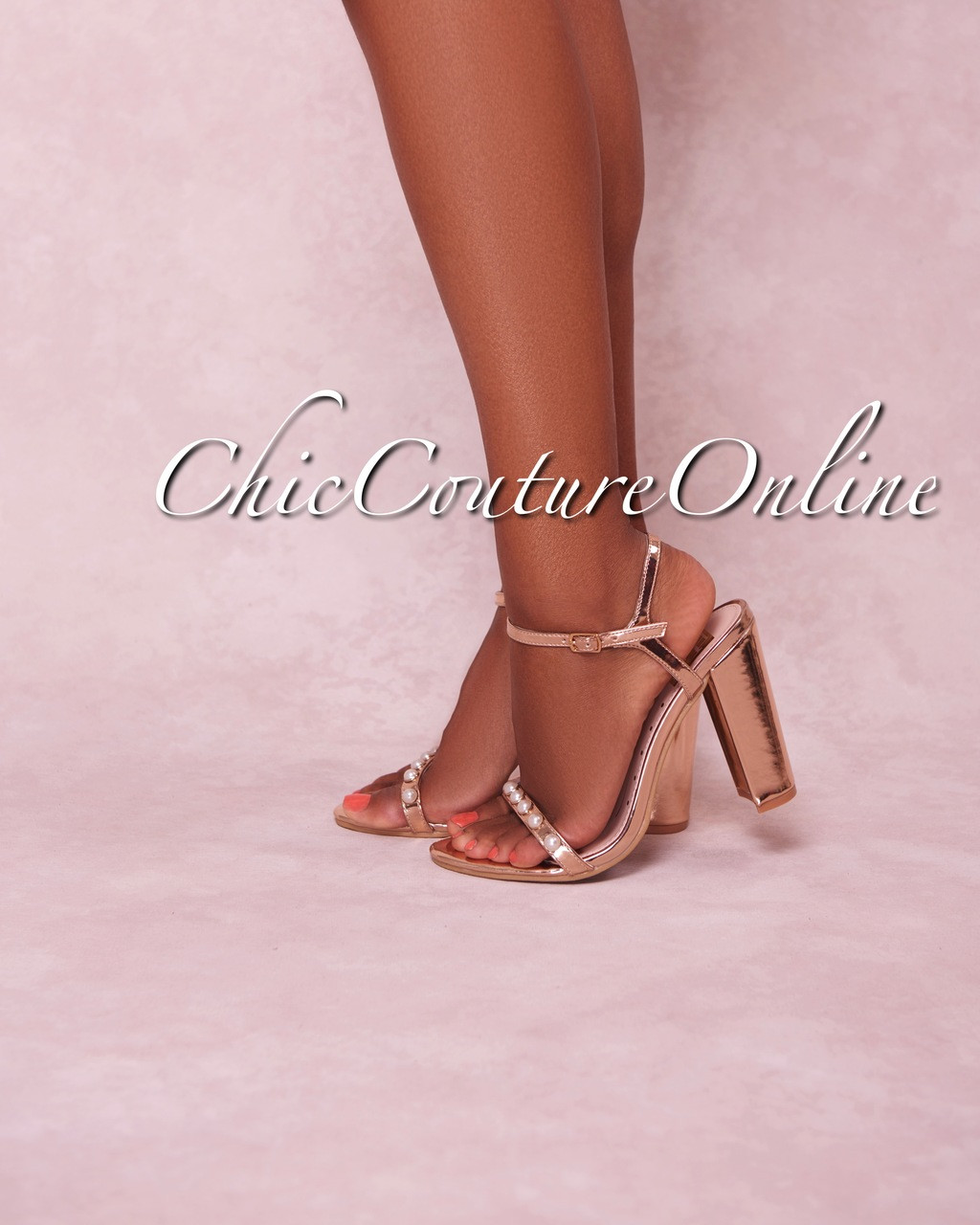 ca224887a84 Rosalind Rose Gold Pearl Strap High Heel Sandals