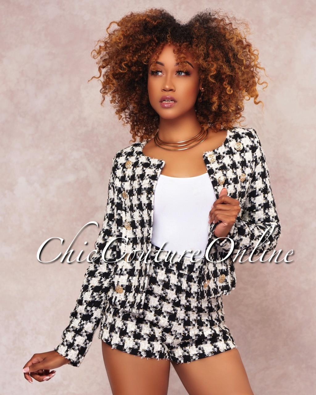 5b4c4ba6c7d1b Cleo Black White Tweed Shorts Two Piece Set