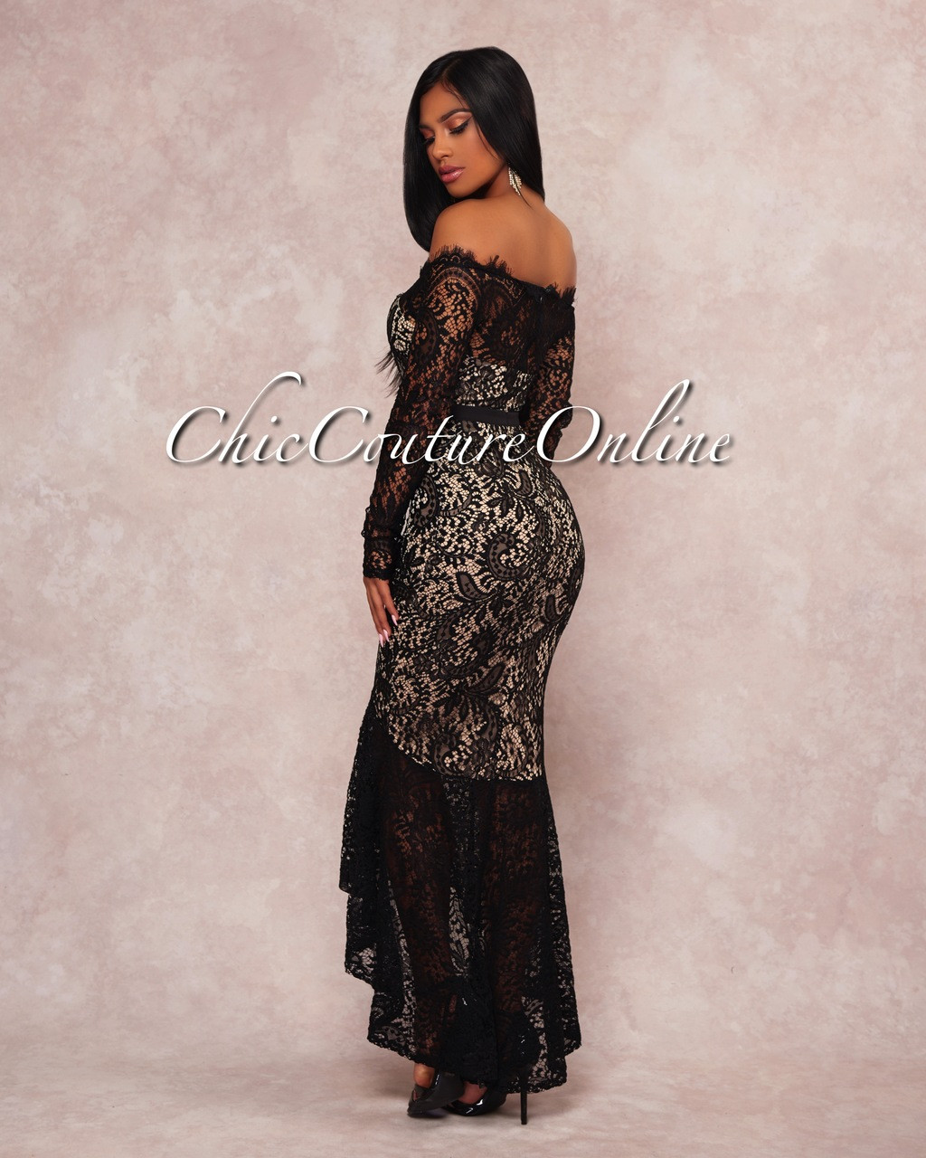 3183306f4 Rikka Black Lace Nude Illusion Off-The-Shoulder Dress