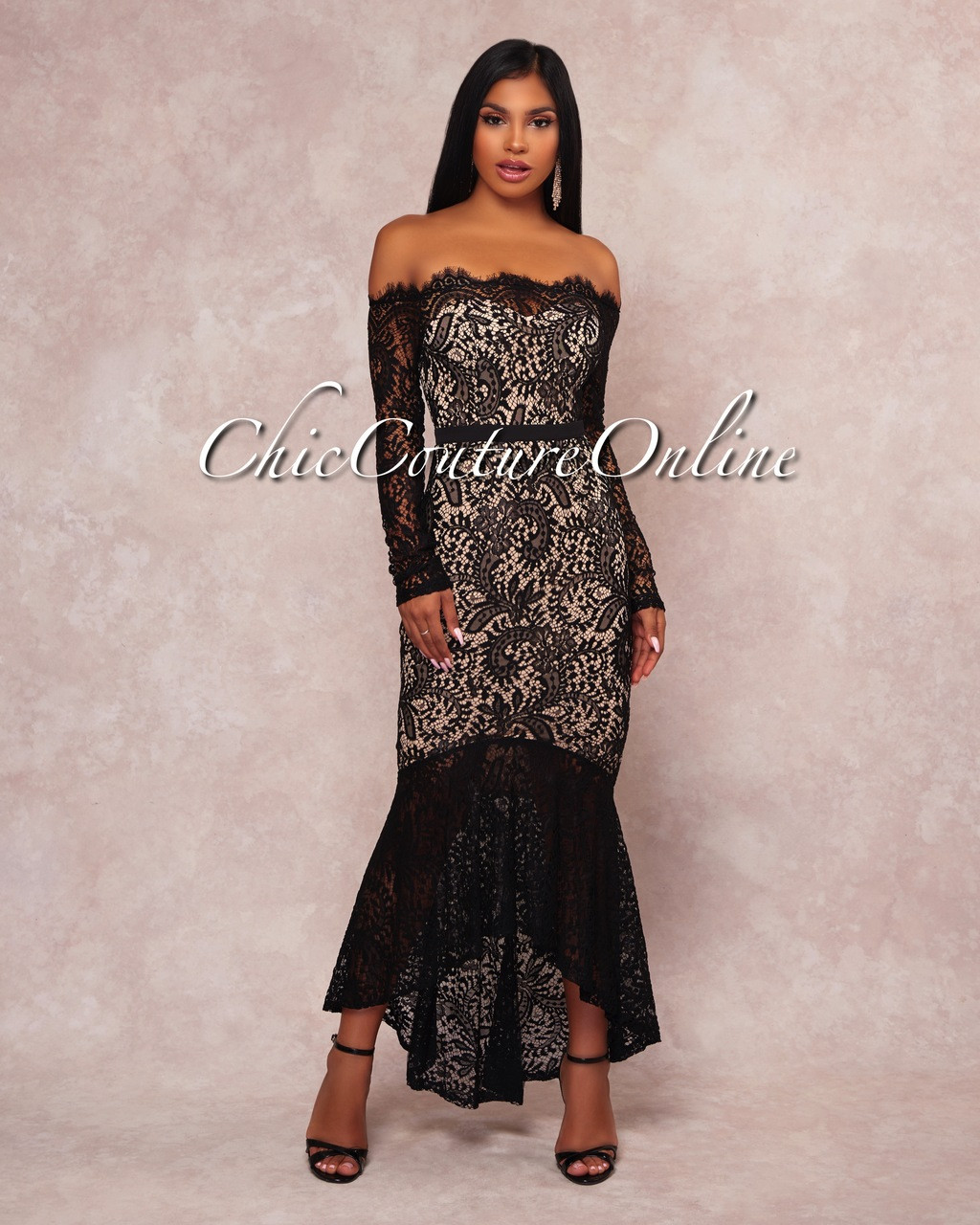 b42ce4b11bc Rikka Black Lace Nude Illusion Off-The-Shoulder Dress