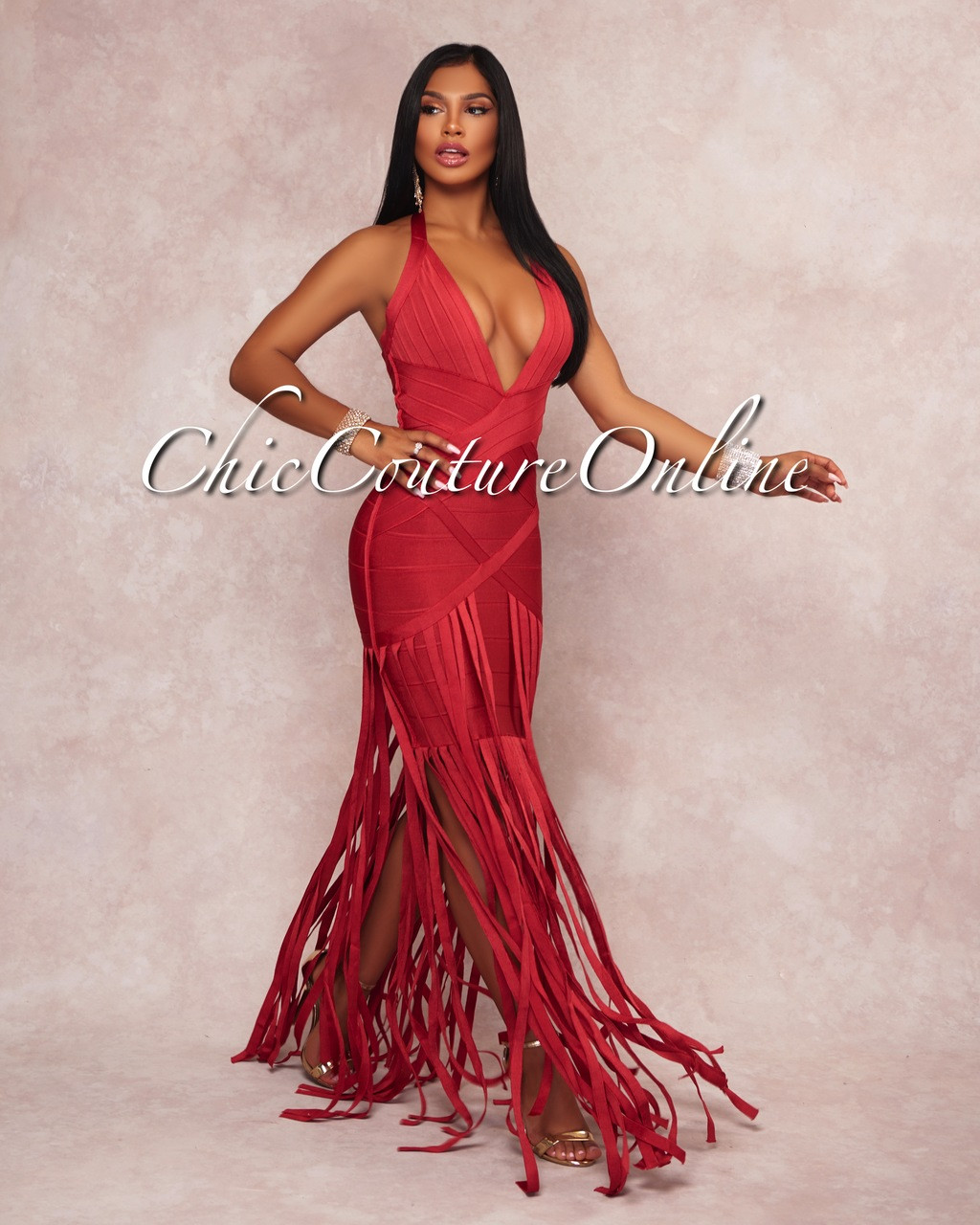 trixia paprika red bandage fringe halter dress