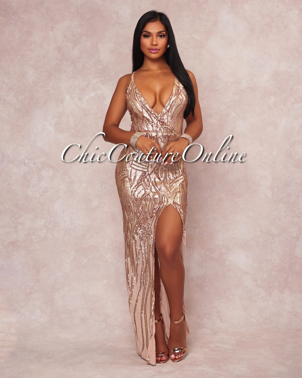 4d3a2f4f807 Yvana Rose Gold Sequins Slit Maxi Dress. Price   100.00. Image 1
