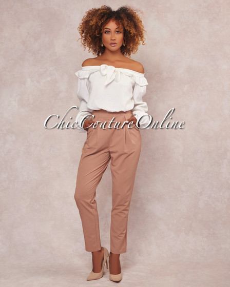 Marcia White Nude Two Piece Pants Set