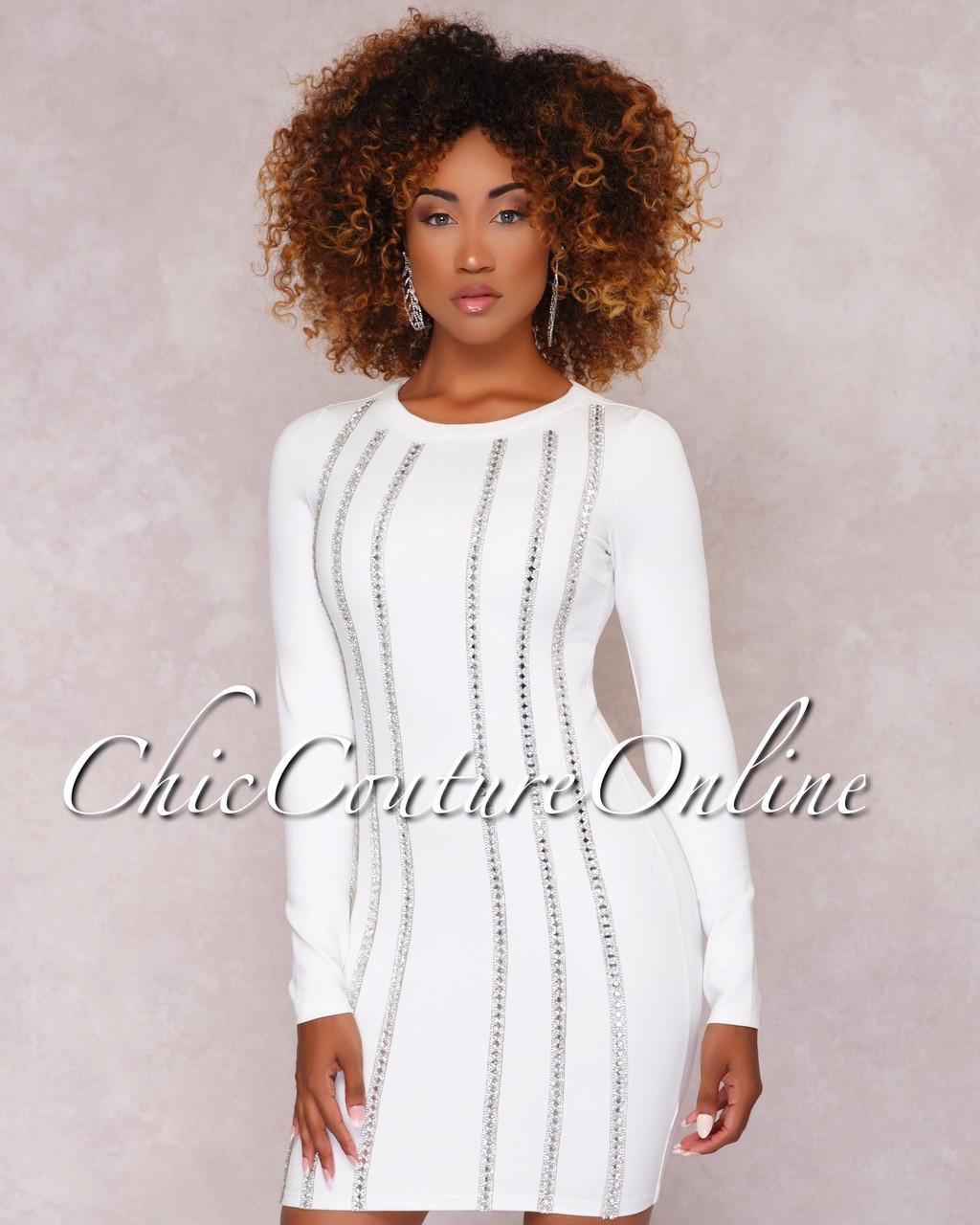 26faf1b30c6 Imani White Rhinestone Embellished Mini Dress. Price   70.00. Image 1