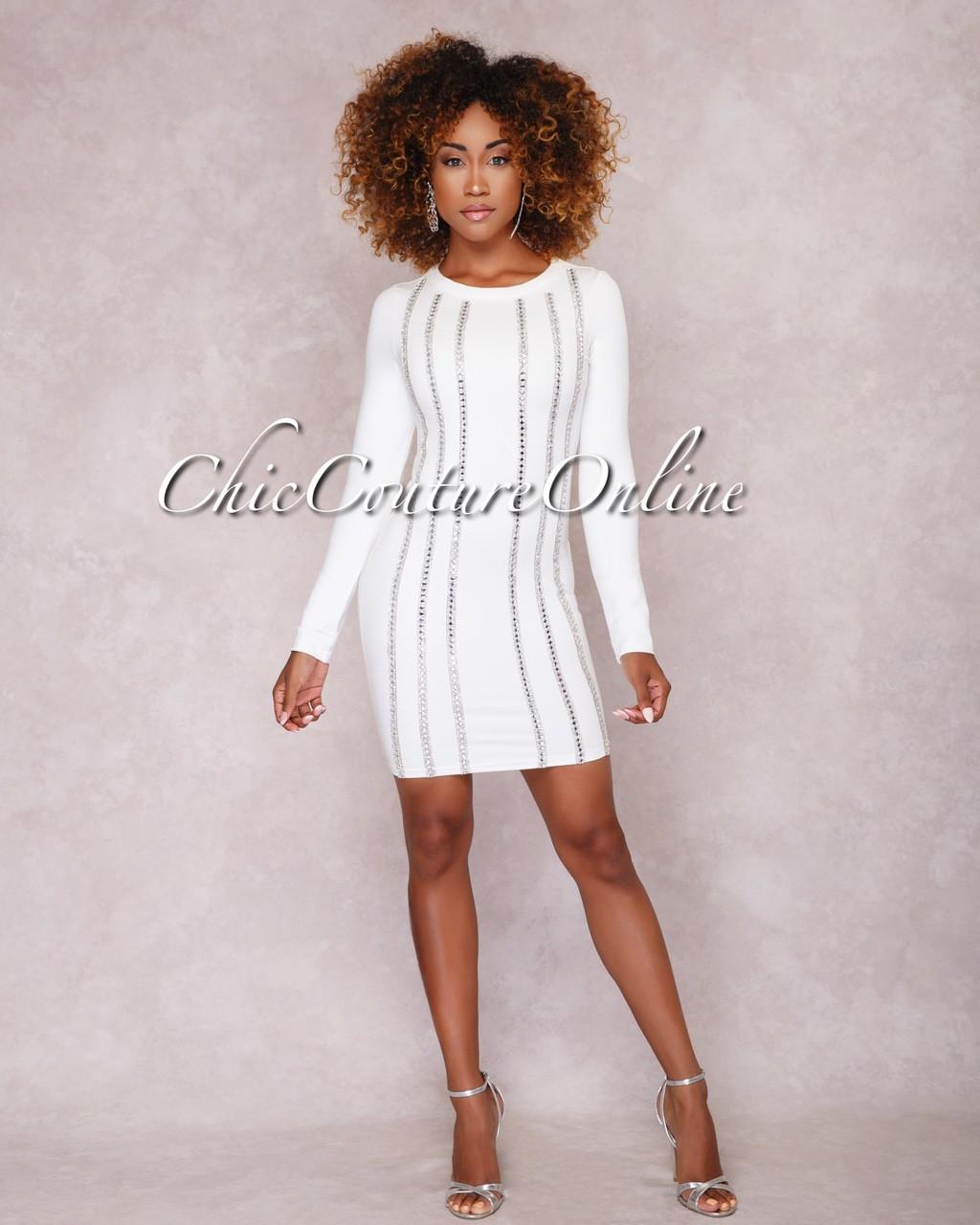 f2bc6a3bb00 Imani White Rhinestone Embellished Mini Dress. Price   70.00. Image 1.  Larger   More Photos