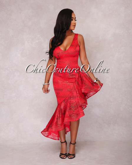 Belika Red Floral Lace Shimmer Ruffle Dress