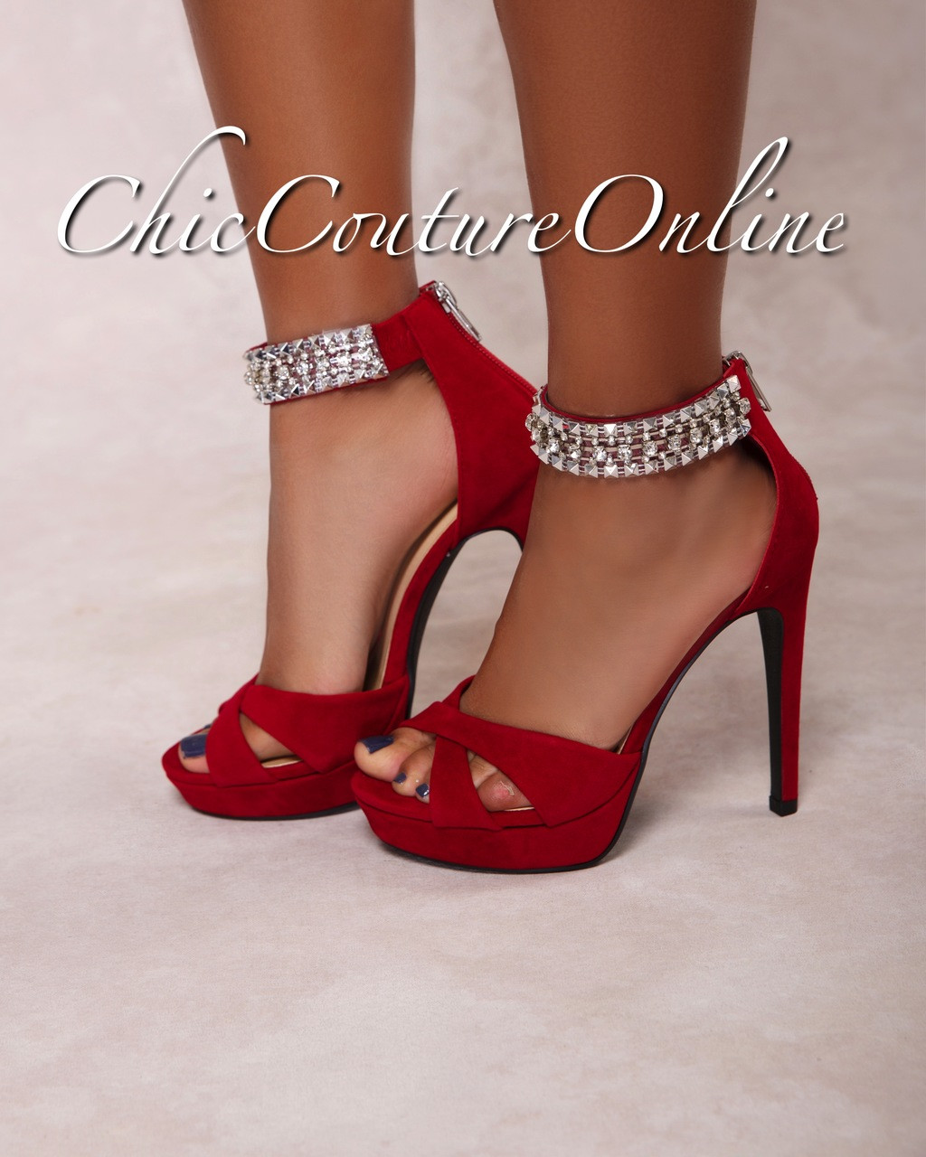 d1ec04cbaa4 Pico Deep Red Rhinestones Ankle High Heel Sandals