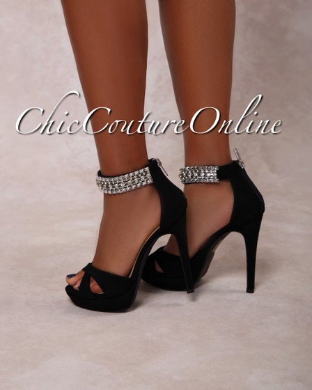 Pico Black Rhinestones Ankle High Heel Sandals