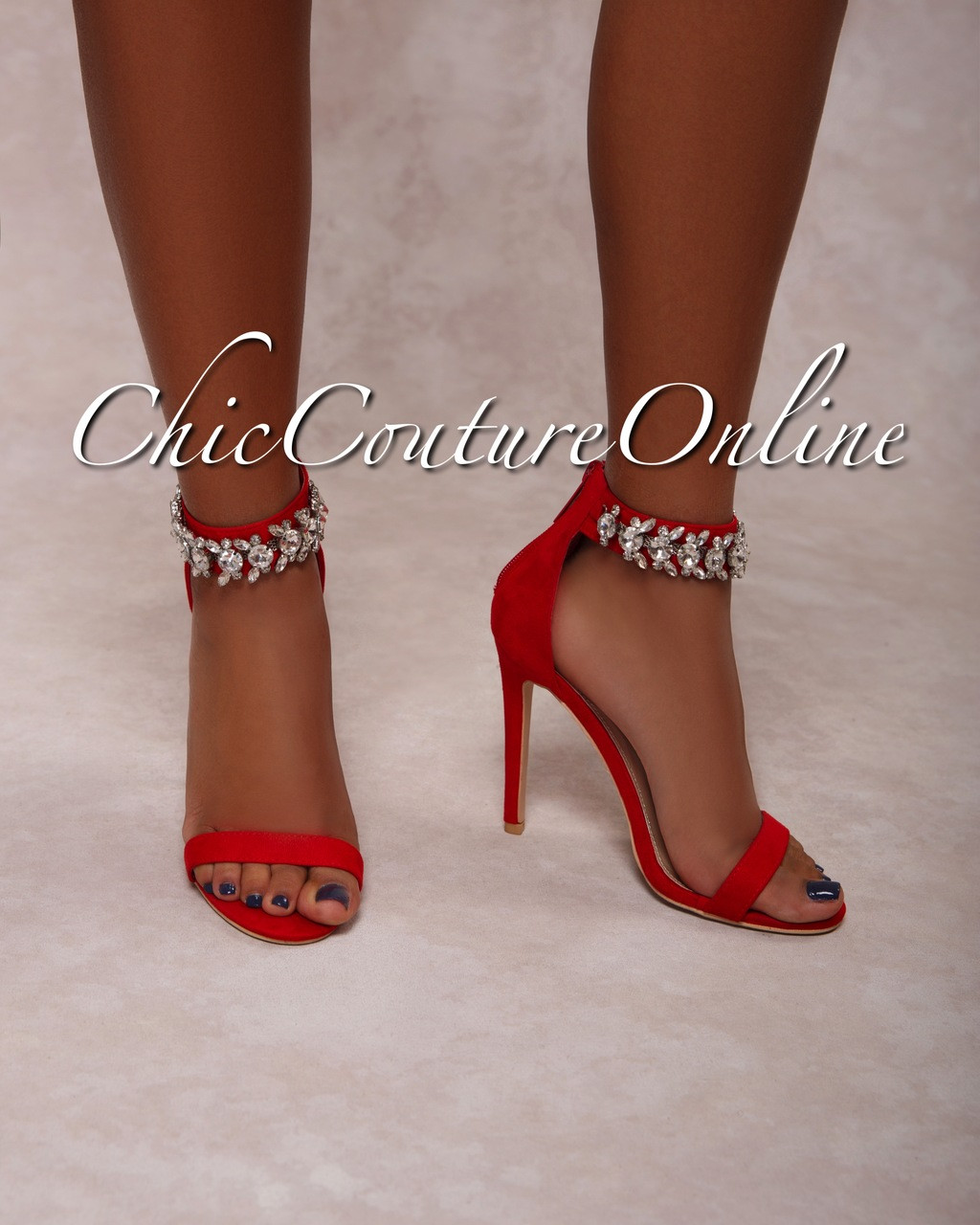 7243449e3e3 Emersson Red Rhinestones Ankle High Heel Sandals