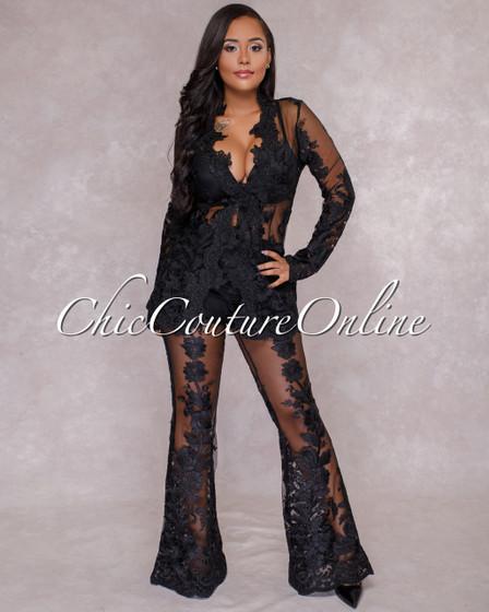 Saxa Black Lace Two Piece Suit Set