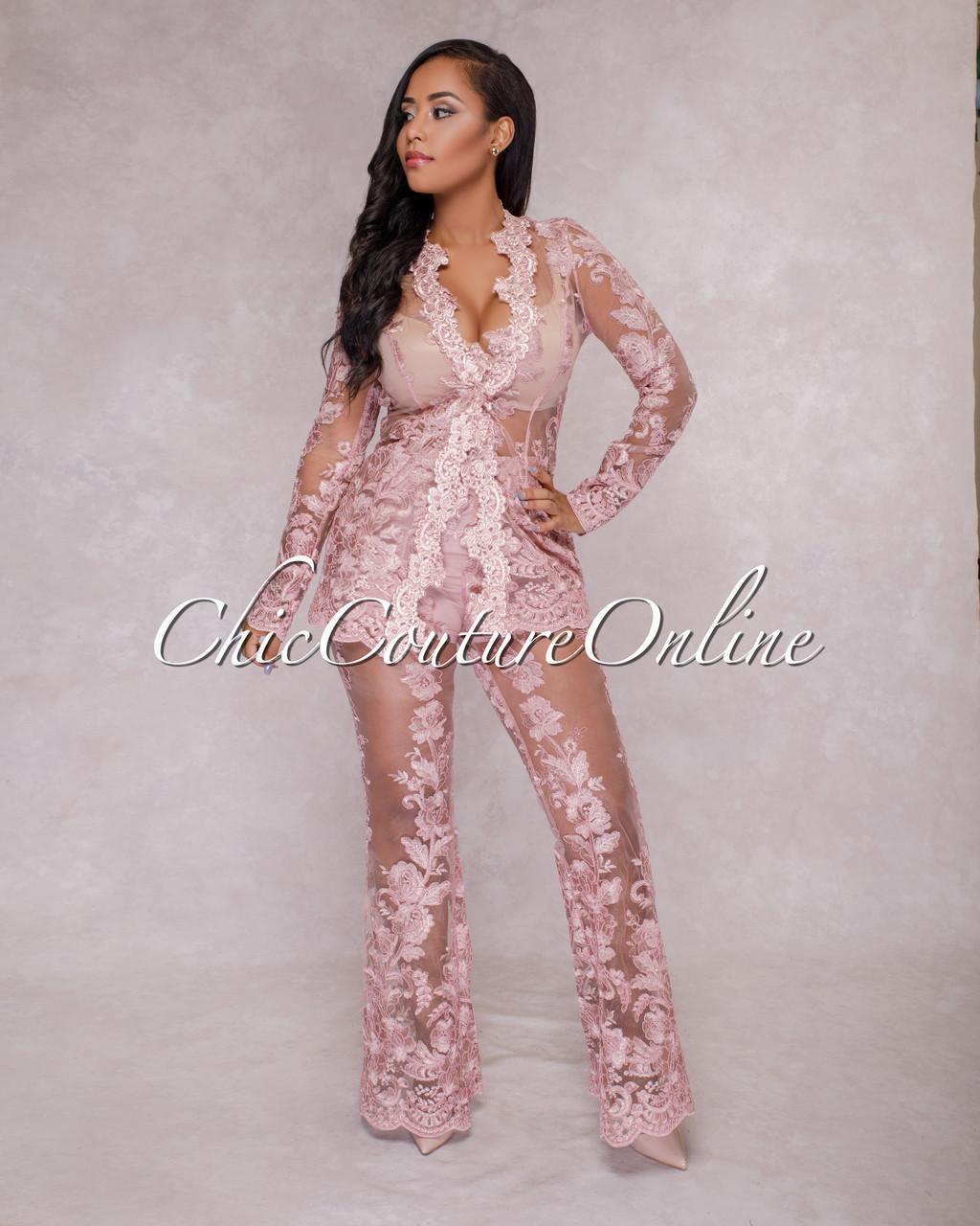 d85caba3452f9 Saxa Mauve Lace Two Piece Suit Set