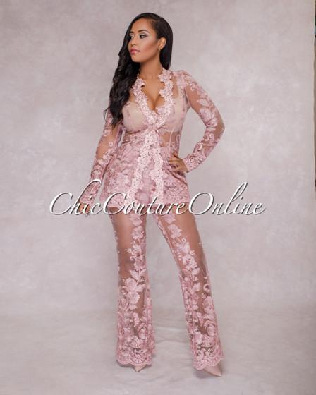Saxa Mauve Lace Two Piece Suit Set