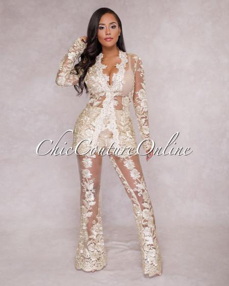 Saxa Gold Lace Two Piece Suit Set