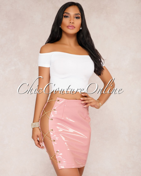 Barbra Dusty  Pink Side Chain Lace Up Mini Skirt