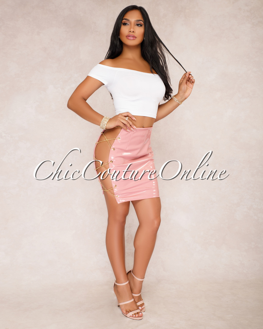 e1962da85 Barbra Dusty Pink Side Chain Lace Up Mini Skirt